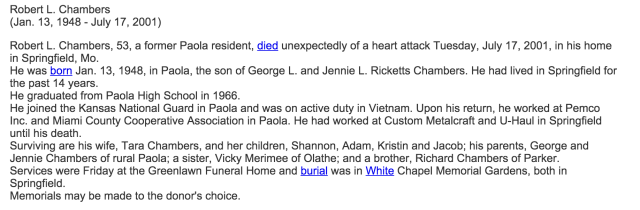 My step-dad's obituary. My brother, Aaron is missing from the list of my mother's children